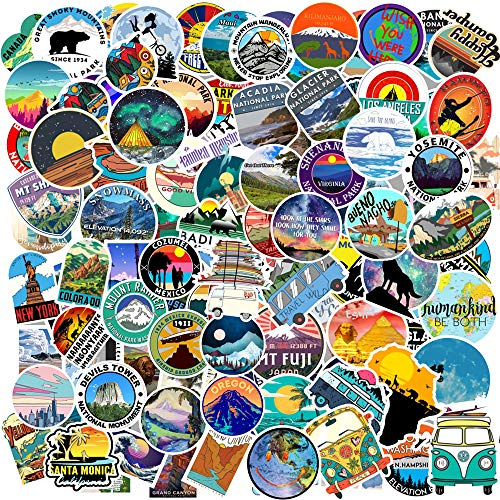 100pcs Travel Sticker with World Famous Tourism Country & Regions Logo Waterproof Stickers, Decals of Outdoors for Luggage Skateboard Laptop Luggage Suitcase Book Covers (Tourist Wonders)