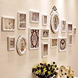 WUXK Continental photo wall frame wall creative combination wall living room bedroom photo background minimalist modern wooden furnishings,D-16 Box