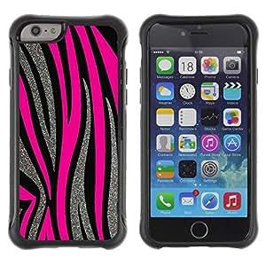 LASTONE PHONE CASE / Suave Silicona Caso Carcasa de Caucho Funda para Apple Iphone 6 / Silver Pink Lines Fur Animal Pattern