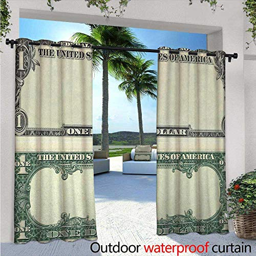 Money Exterior/Outside Curtains W84 x L96 One Dollar Bill Buck Design American Federal Reserve Note Pattern Wealth Symbol for Patio Light Block Heat Out Water Proof Drape Pale Green Grey (Block Reserve)
