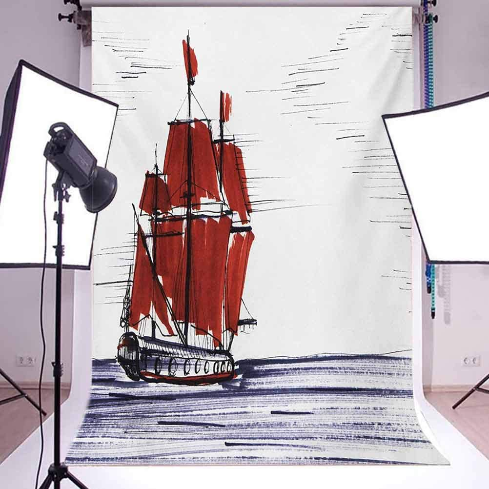 Sketchy 8x10 FT Backdrop Photographers,Sailing Ship Floating on The Sea Drawing Style Nautical Maritime Theme Background for Party Home Decor Outdoorsy Theme Vinyl Shoot Props Dark Purple Ruby Black