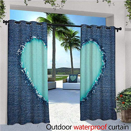 cobeDecor Navy and Teal Exterior/Outside Curtains Ripped Denim Jean Fabric Image Heart Shape Love Romance Valentines Day for Patio Light Block Heat Out Water Proof Drape W72 x L96 Navy Blue Seafoam