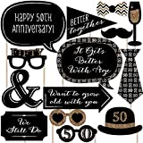 Big Dot of Happiness 50th Anniversary - Photo Booth Props Kit - 20 Count