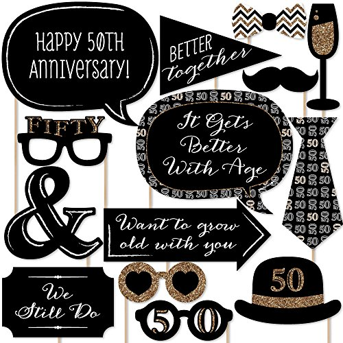 50th Anniversary - Photo Booth Props Kit - 20 - 50th Supplies Party Anniversary