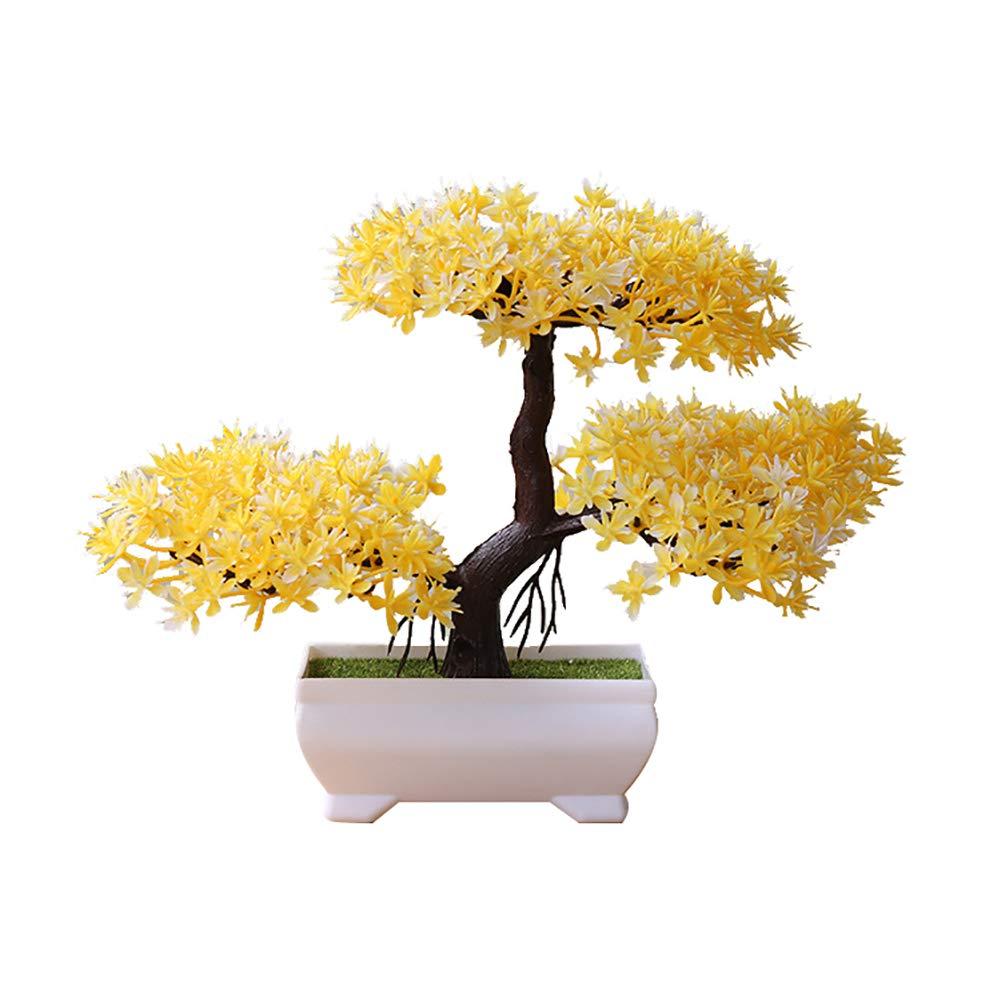 TWUJl4SXJ Willkommen Pine Bonsai Simulation Plant Topfdekoration Heimtextilien Ornamente Gelb