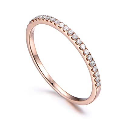 14K Rose Gold Diamond Wedding RingHalf EternityStackable RingMicro Pave