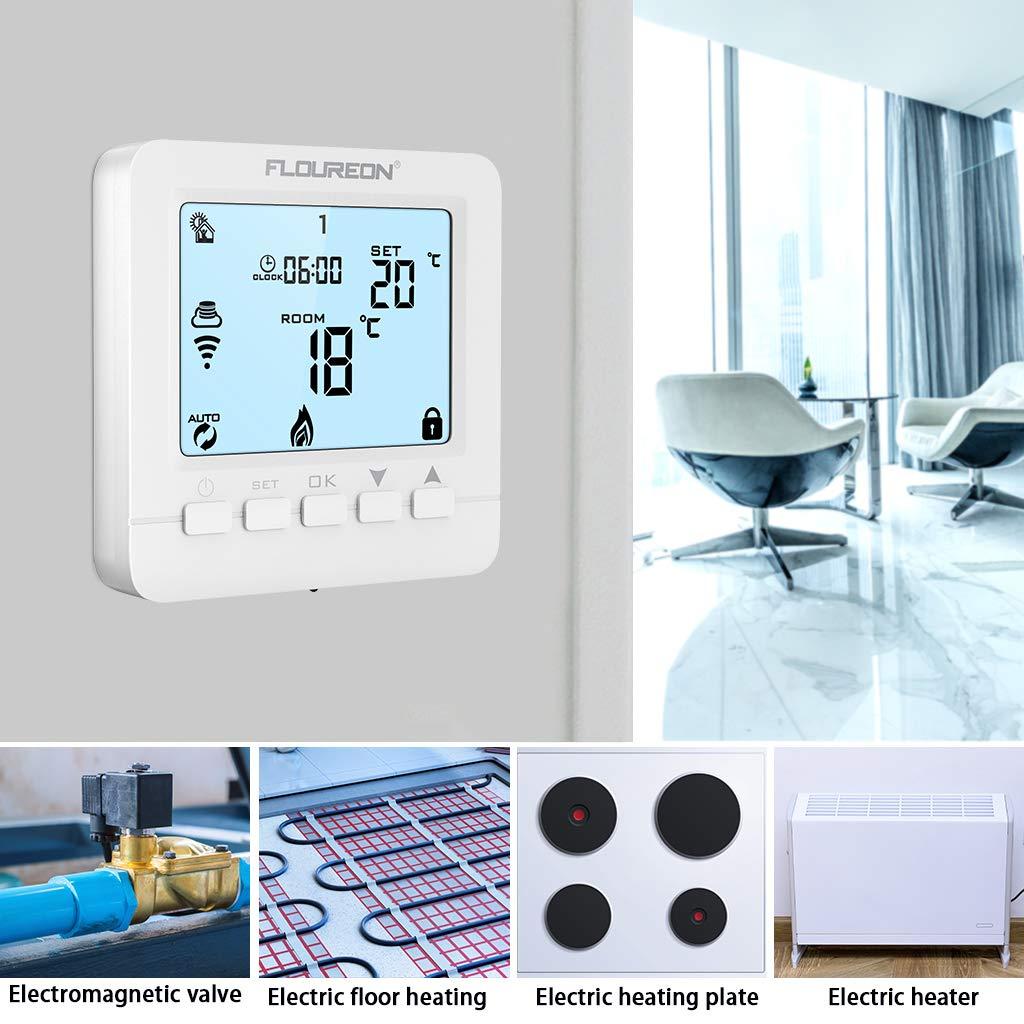 Floureon Raumthermostat Touchscreen Thermostat LCD Display Wandthermostat BYC17.GH3 mit Wei/ß Backlight Digital Smart Programmierbares Heizk/örper-Thermostat Fu/ßbodenheizung Wasserheizung Wandheizung