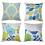 AENEY Outdoor Floral Throw Pillow Covers Set of 4 18 X 18 Inch Cartoon Shadow Bird Spring Decorative Throw Pillow Case Home Decor Cotton Linen Pillowcases Cushion Covers for Sofa Bedroom Couch Blue