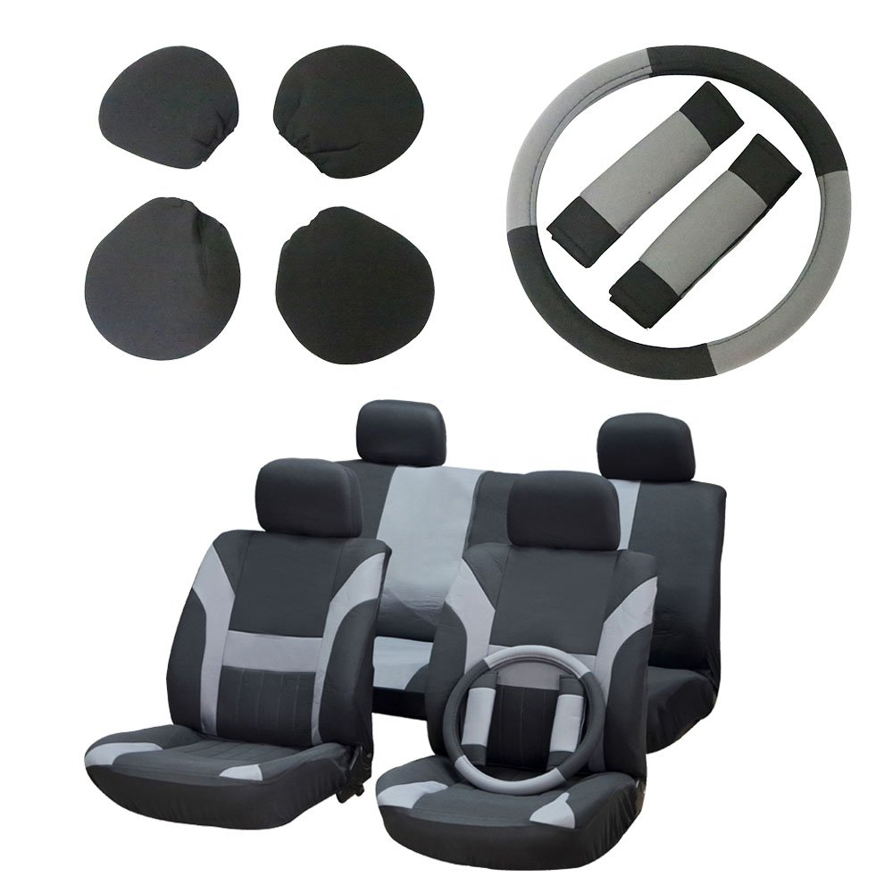 ECCPP Universal Car Seat Cover w/Headrest/Steering Wheel/Shoulder Pads - 100% Breathable Polyester Stretchy Durable for Most Cars Trucks Vans(Black/Red) BHBU0503A2437