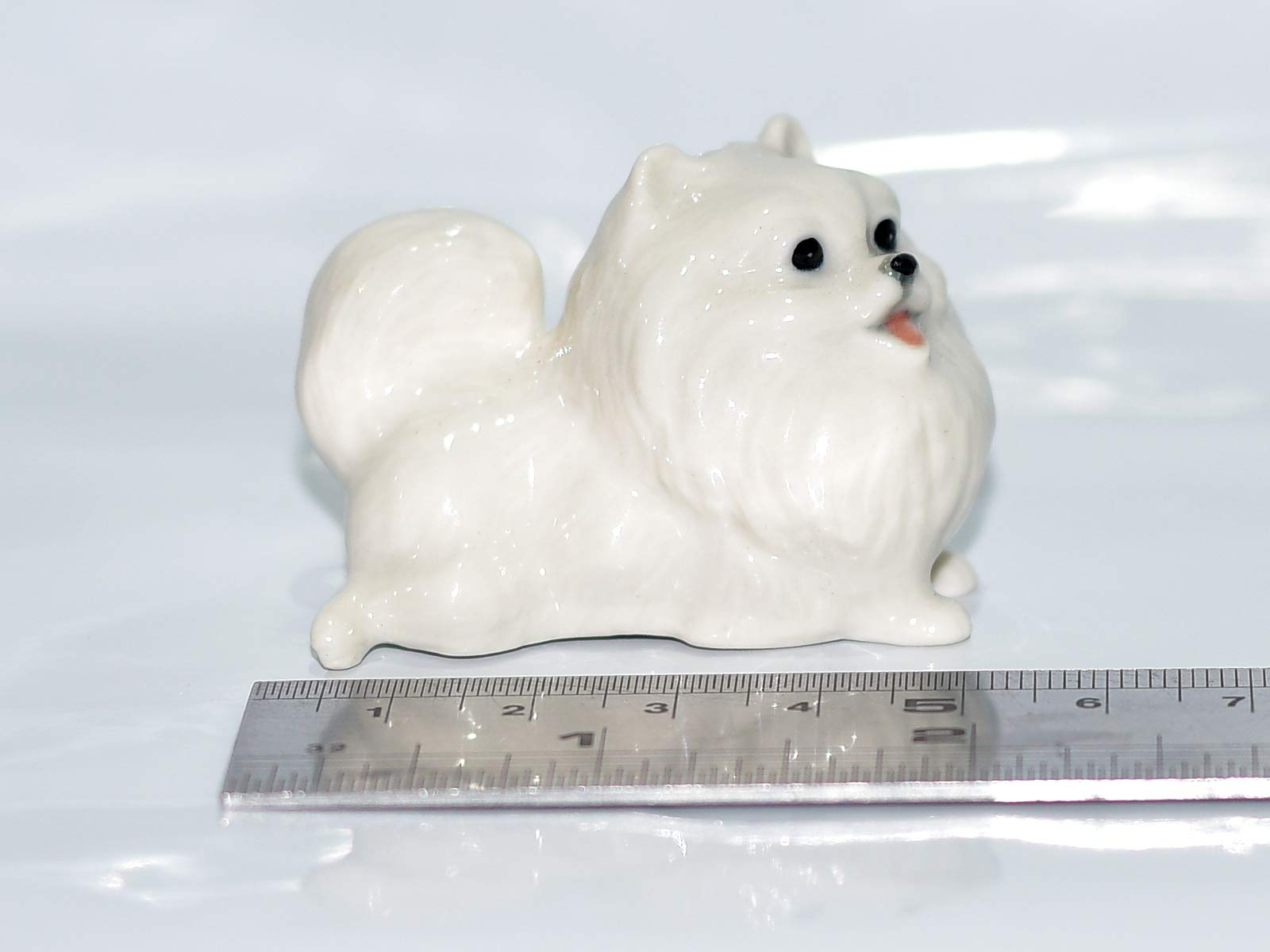 SSJSHOP Pomeranian Miniature Figurines Hand Painted Ceramic Animals Collectible Dog Lover Gift Home Decor, White Squat 2