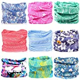 KALILY 9PCS Headwear Wide Headbands Scarf Head Wrap Mask Sweatband - 12 in 1 FLORAL Multifunctional Sport Headband Neck Warmer for Yoga, Camping, Fishing, Hiking, Running, Motorcycling, Skiing ect