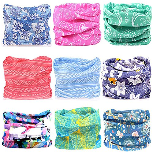 KALILY 9PCS Headband Bandana - Versatile Flower Sports & Casual Headwear -Multifunctional Seamless Neck Gaiter, Headwrap, Balaclava, Helmet Liner, Face Mask for Camping, Running, Cycling, Fishing etc (Best New Hairstyles For Guys)