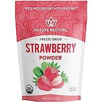 Nature Restore USDA Certified Organic Freeze Dried Strawberry Powder, 8 Ounces, Non GMO, Gluten Free, Vegan