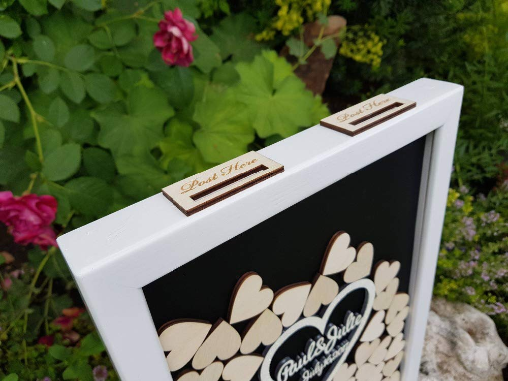 ILOKY Personalize Engraved Names Date Hearts Wooden Wedding Guest Book Alternative Guest Book Drop Top Box Hesignature Guest Books White, 40x50cm