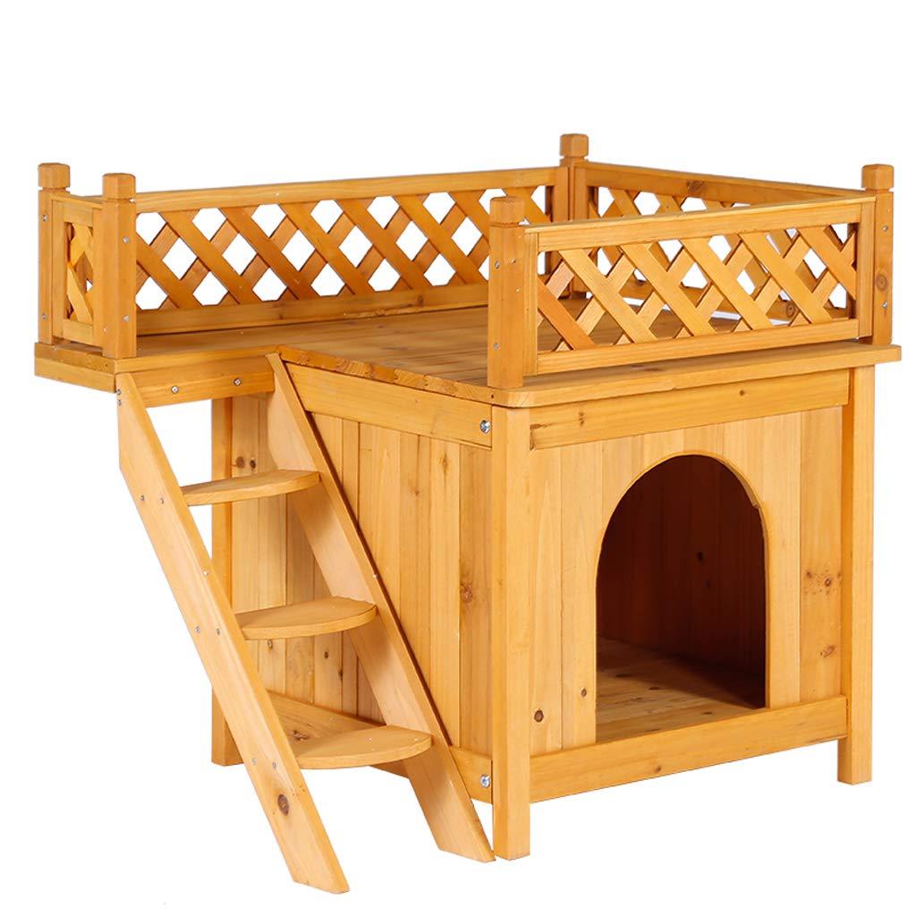 AA-GWCWWWL Dog Cat House Wooden Kennel Garden Puppy Outdoor Animal Hide Shelter