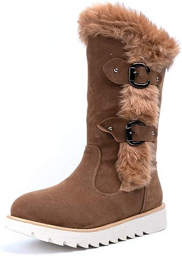 Bottes Femme Hiver Boots Plates Femmes Bottines Fourrées Chauds Daim Neige Low Boots sans Fermeture Confort Beige Noir Jaune Taille 35 43