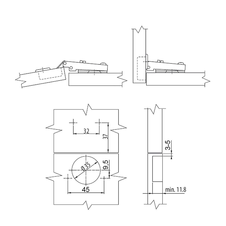 SO-TECH® Topfband T45 Eckanschlag 110° Automatikscharnier mit ...