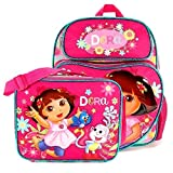 "Dora the Explorer 12"" Medium School Backpack Bag and Lunch Bag Set: Sunflower"