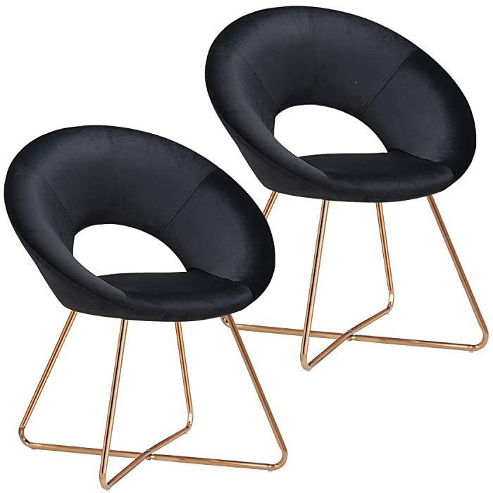 Duhome Set of 2 Upholstered Accent Chairs,Modern Home Office Chairs for Dining Living Chair Contemporary Velvet Arm Leisure Chairs for Bedroom,Black