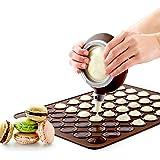 Macaron Making Set-48 Kapazität Macaron Silikonbackmatte Mold Mode und Dekorieren Pen Vereisung Tipps mit 4 Düsen (braun)