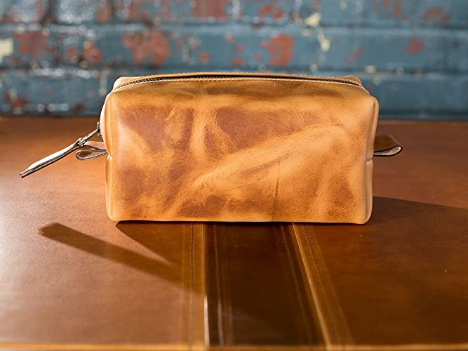 1ac913c9d454 Travel Toiletry Bag in Full-Grain Natural Leather Portable Dopp Kit for  Shaving and Grooming