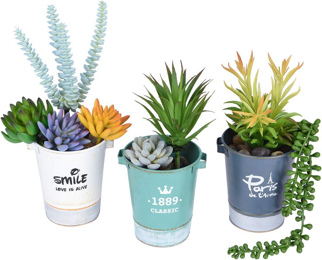 3PCS Artificial Succulent Plants Assorted Unpotted Garden Fake Flower Decor
