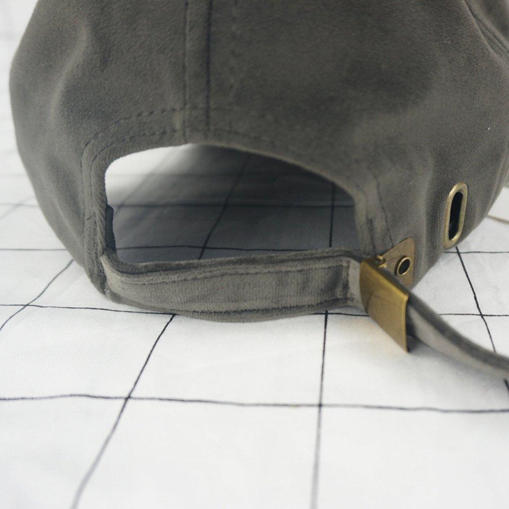 grigio scuro OULII Berretto da baseball morbido in velluto unisex Calotta solida regolabile in cappello sportivo