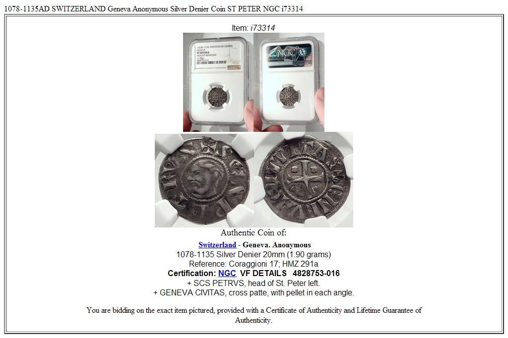 1078 CH 1078-1135AD SWITZERLAND Geneva Anonymous AR Denie coin VF DETAILS NGC at Amazons Collectible Coins Store