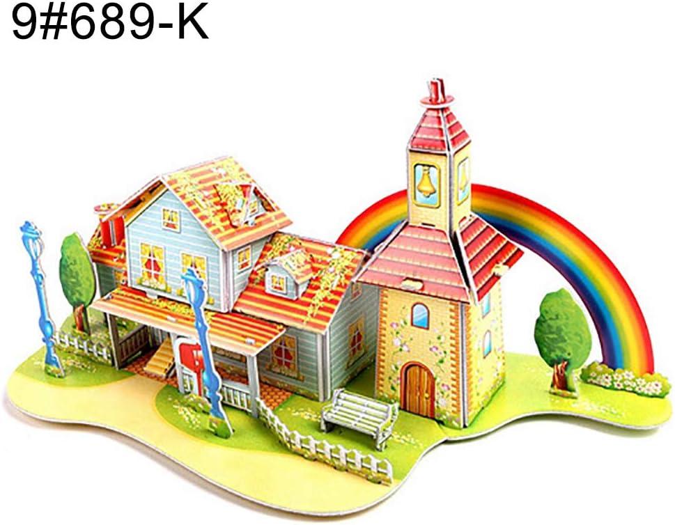 Christmas 3D DIY Puzzle Assembling Paper Toy Cartoon House Jigsaw Castle Model