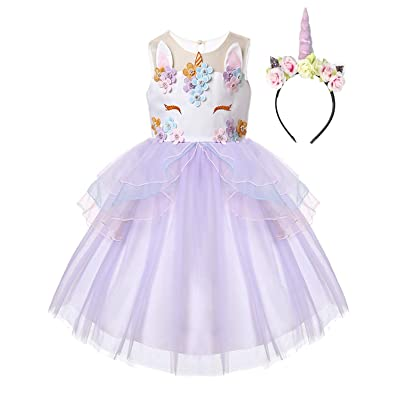 R-Cloud Girls Flower Unicorn Costume Pageant Princess Halloween Dress Up Cosplay Birthday Party Dress: Clothing