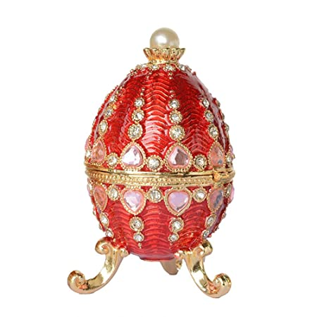 Rhinestone Jeweled Faberge Egg with Castle Trinket Jewelry