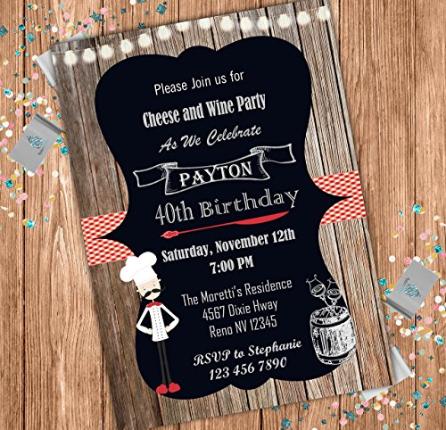Amazon Cheese And Wine Custom Adult Birthday Invitation