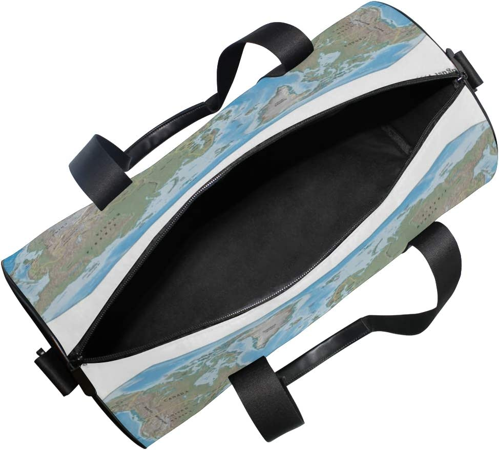 OuLian Gym Bag Explorer-Kids-World-Map Women Canvas Duffel Bag Cute Sports Bag for Girls