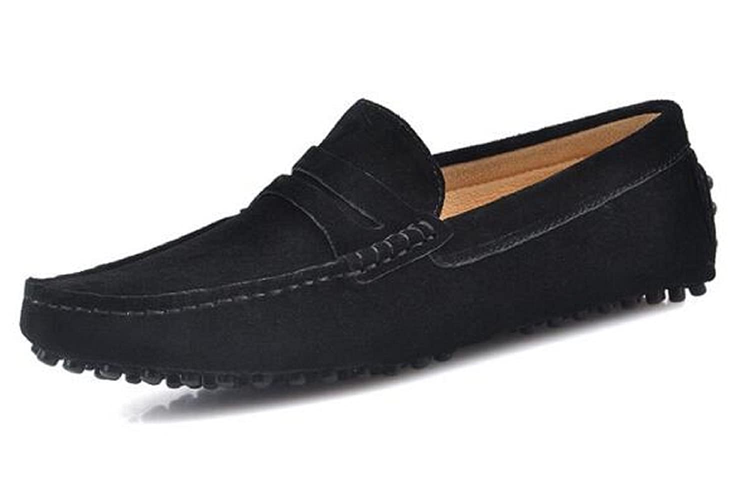 d37c3f91a0a1 HAPPYSHOP TM Men's Suede Leather Moccasin Slippers Driving Shoe Black Dress  Shoes Slip On Loafer Flats