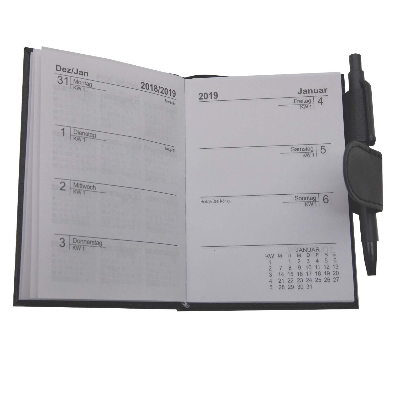 2019 Taschenkalender mit Stift Schwarz A7 Business Terminplaner Organizer Timer Kalender