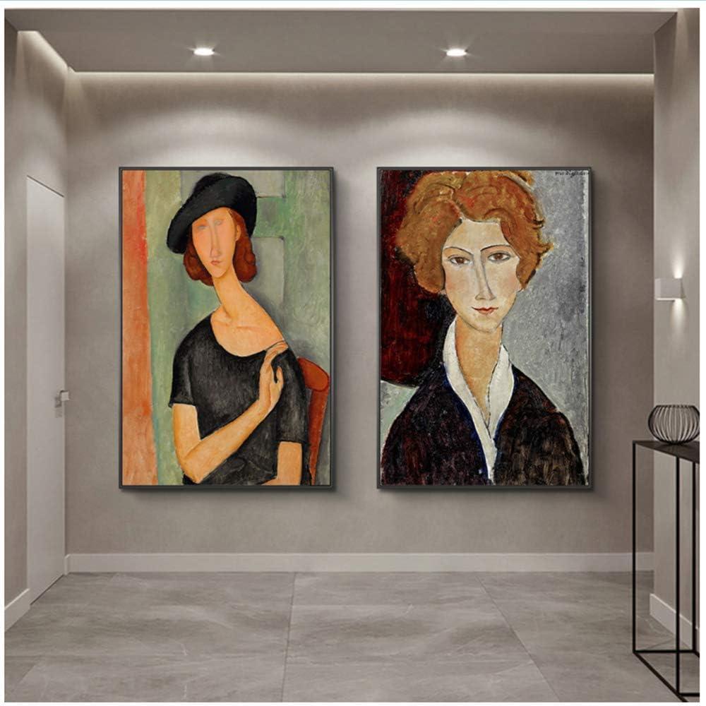 RuiChuangKeJi Póster Obras de Arte 2x40x60cm Sin Marco Retrato de Jeanne Hebuterne Pinturas de Modigliani Carteles de Arte Famosos Cuadros de Arte Decoración de la Pared