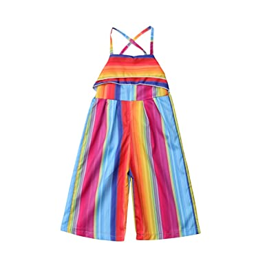 ea23b60ed19 Baby Girl Rainbow Overalls Romper Kids Stripes Jumpsuits Ruffles Pants  Floral Overall Clothes for Toddler (