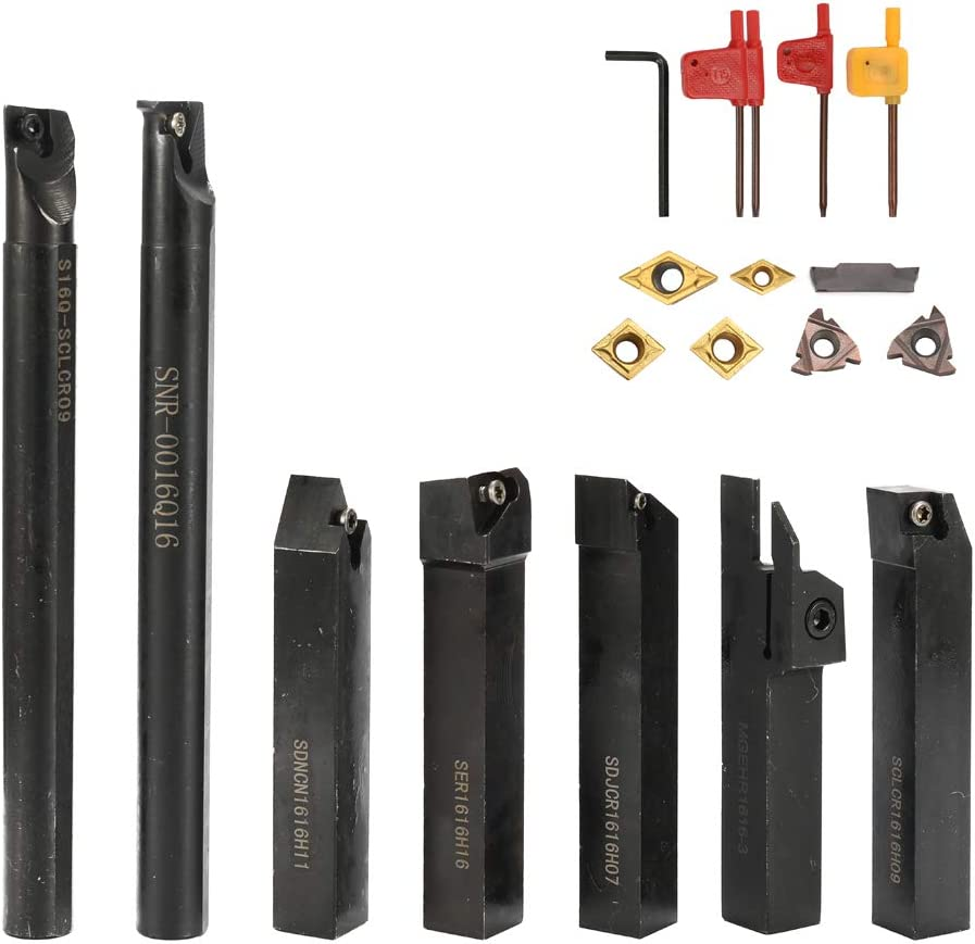 KKmoon 16mm Vástago 19 UNIDS Con Llave de Inserción de Carburo DIY Set, Torno de Acero Metálico Boring Bar Holder Herramienta de Torneado