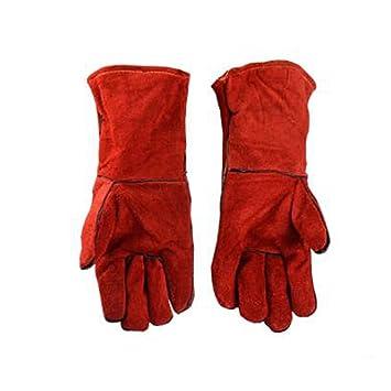Welding gloves Guantes De Soldadura Aislamiento De Soldadura Industrial Guantes De Cuero Resistentes Al Desgaste Resistentes Al Desgaste Rojo Longitud Total ...