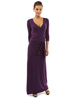 PattyBoutik Women's 3/4 Sleeve Faux Wrap Maxi Dress (Medium Purple L)