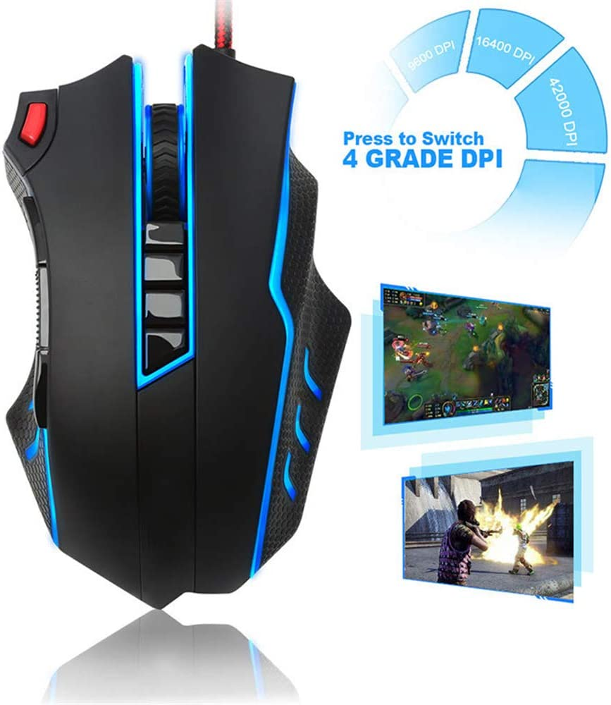 Gaming Mouse Weight Adjustment Kit for Windows PC Games Aggravated Game Macro Programming Mouse RGB Backlit LED 42000 Dpi High Precision Sensor