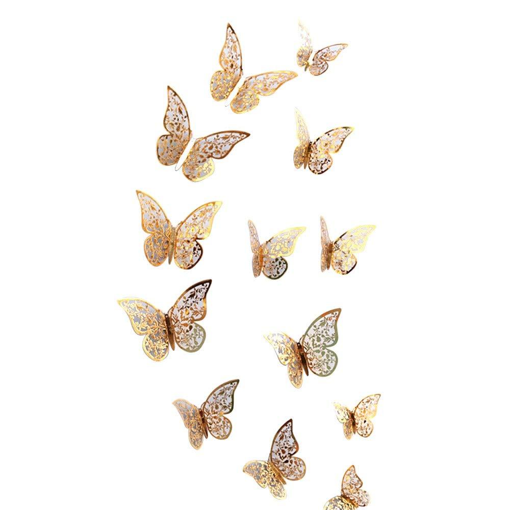 Pet1997 12 Pcs New 3D Hollow Butterfly Wall Stickers, Butterfly Fridge for Home Decoration - Gold & Silver - 3 Size: 12CM (4pcs), 10CM (4pcs), 8CM (4pcs) (E Gold)