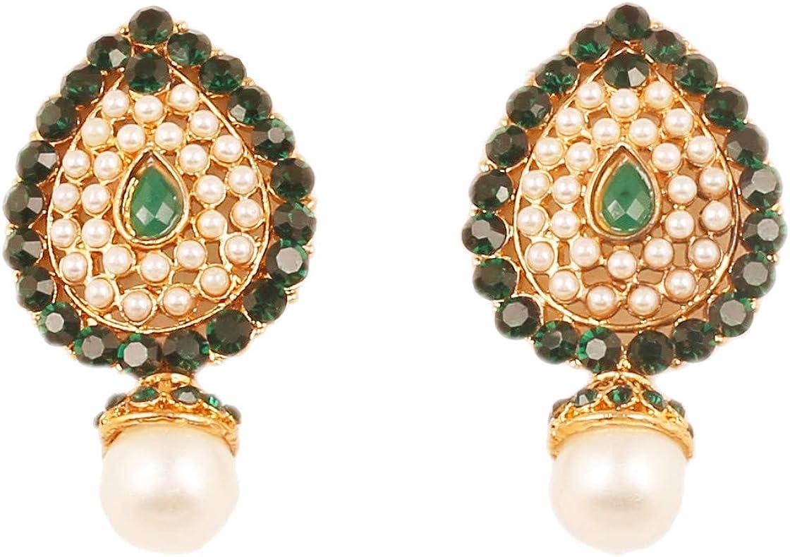 Touchstone Bollywood indio desea estilo tradicional facetado perlas de esmeraldas falsas pendientes de joyería de diseñador de gran apariencia para mujer Verde