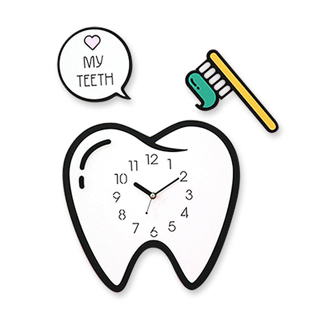 漫画の壁時計、Natood シンプルな歯のモデルの壁時計子供の部屋リビングルームミュートウォールクロック、28 * 29センチメートル、電池なし B07D31ZGXL