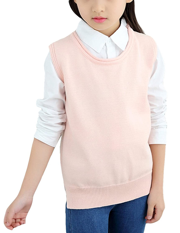 MFrannie Girls Crew Neck Sleeveless Solid Spring Knitting Vest Sweater