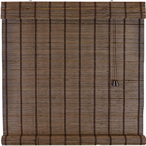 Woven Espresso Wood Roman Roll up Shades, 48