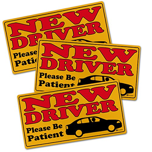 Zone Tech New Driver Please Be Patient Automotive Car Vinyl Magnet REFLECTIVE Set of 3