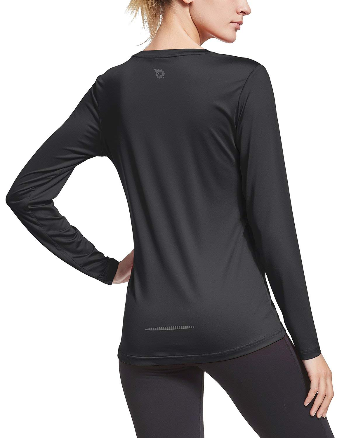 BALEAF Women's Long Sleeve T-Shirt Quick Dry Running Workout Shirts Black Size XL by BALEAF