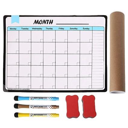 Lailongp Planificador mensual, pizarra blanca magnética suave ...