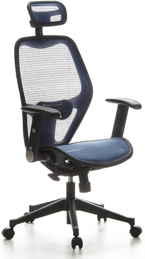 hjh OFFICE 653060 Profi Bürostuhl AIR Port Netz Blau Drehstuhl mit Lordosenstütze, Armlehnen klappbar & verstellbar